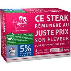 C'EST QUI LE PATRON? Steaks hachés pur bœuf, 5% de M.G 4 steaks 400g