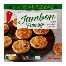 AUCHAN Mini pizza au jambon et fromage 9 pièces 270g