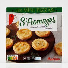 AUCHAN Mini pizza aux 3 fromages 9 pièces 270g