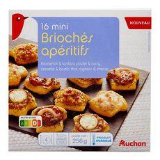 Auchan Mini brioché apéritif assortiment x16 256g