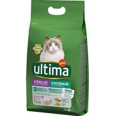 ULTIMA Croquettes à la dinde céréales pour chat d'intérieur stérilisé 3kg
