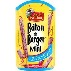 JUSTIN BRIDOU Justin Bridou Mini bâton de berger saucisson sec sel réduit 80g 80g