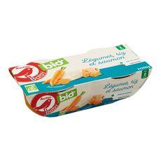 AUCHAN BABY BIO Bol légumes riz et saumon bio dés 6 mois 2x200g