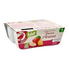 AUCHAN BABY BIO Petit pot dessert pomme ananas dès 4 mois 4x100g