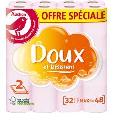 AUCHAN papier toilette rose offre speciale x32