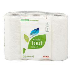 AUCHAN MIEUX VIVRE Essuie-tout blanc compact écologique = 6 standards 3 rouleaux