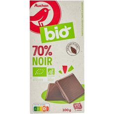 AUCHAN BIO Tablette de chocolat noir 70% 100g