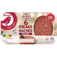 AUCHAN Steaks Hachés Pur Bœuf façon Bouchère 15%mg 6 pièces 600g
