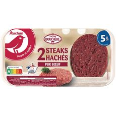 AUCHAN Steaks Hachés Pur Bœuf façon bouchère 5%mg 2 pièces 250g