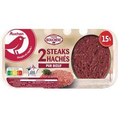 AUCHAN Steaks Hachés Pur Bœuf façon Bouchère 15%mg 2 pièces 250g