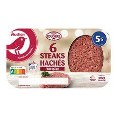 AUCHAN Steaks Hachés Pur Bœuf façon bouchère 5%mg 6 pièces 600g