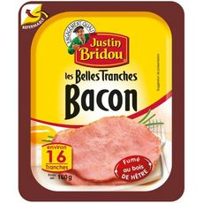 JUSTIN BRIDOU Bacon fumé 16 tranches 160g