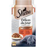 Sheba Sheba Délices du jour sachets repas pâtée en sauce viandes pour chat 6x50g