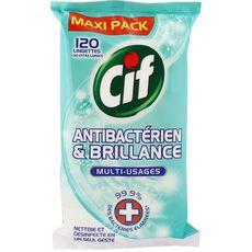 Cif Lingettes multi-usages antibactériennes & brillance x120