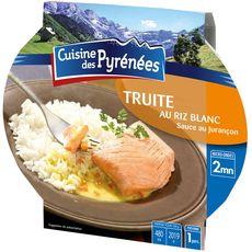 CUISINE DES PYRENEES Truite au riz blanc sauce au Jurançon 1 personne 300g