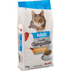 AUCHAN Auchan Adult multicroquettes à la volaille pour chat 2kg 2kg