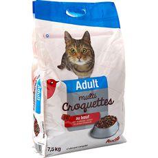 AUCHAN Adult multicroquettes au boeuf pour chat 7,5kg