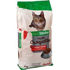 AUCHAN Adult multicroquettes au boeuf pour chat stérilisé 2kg
