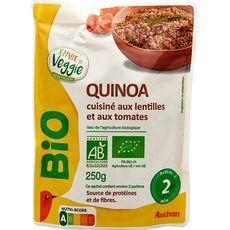 AUCHAN BIO Quinoa cuisiné aux lentilles et tomates en poche 1 à 2 personnes 250g