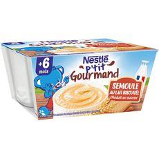 Nestlé NESTLE P'tit gourmand pot dessert semoule au lait biscuité dès 6mois