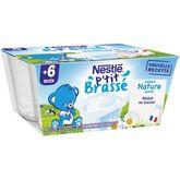 Nestlé Nestlé P'tit brassé petit pot dessert lacté nature sucré dès 6 mois 4x100g