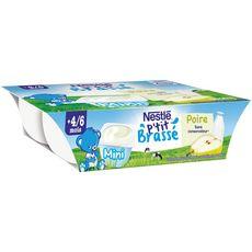 Nestlé P'tit brassé petit pot dessert lacté à la poire dès 4 mois 6x60g