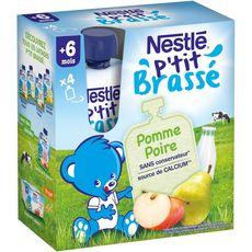 Nestlé P'tit brassé gourde dessert pomme poire dès 6 mois 4x90g