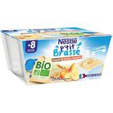 Nestlé Nestlé P'tit brassé pot dessert lacté muesli pêche banane bio dès 8m 4x90g