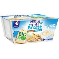 Nestlé NESTLE P'tit brassé pot dessert lacté nature muesli bio dès 8 mois