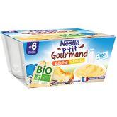 Nestlé Nestlé P'tit gourmand pot dessert lacté pêche vanille bio dès 6 mois 4x90g