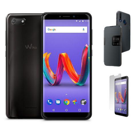 WIKO Pack Smartphone Harry2 Anthracite 16 Go 5.45 pouces + Étui à rabat smart folio gris + Protection écran verre trempé