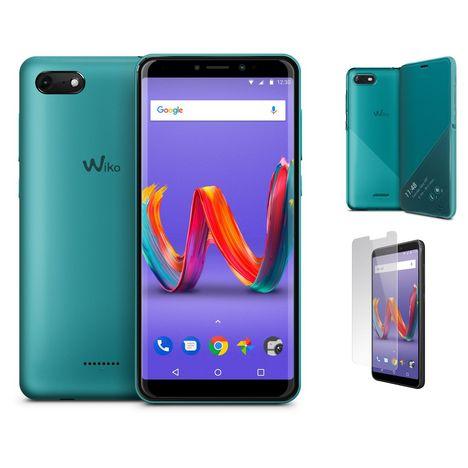 WIKO Pack Smartphone Harry2 Turquoise 16 Go 5.45 pouces + Étui à rabat smart folio turquoise + Protection écran verre trempé