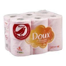 AUCHAN Auchan Papier toilette rose maxi doux & résistant 2 épaisseurs x12 = 18 standards 12 rouleaux