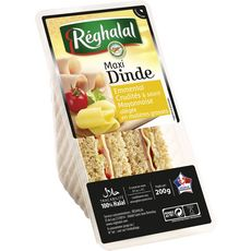 Reghalal sandwich maxi dinde emmental crudités et mayonnaise allégée 200g
