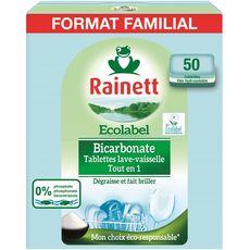 RAINETT Tablettes lave-vaisselle  tout en 1 bicarbonate écolabel 50 lavages 50 tablettes