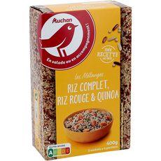 AUCHAN Mélange riz complet riz rouge quinoa prêt en 10 min 8 portions 2x200g