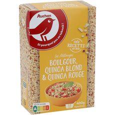 AUCHAN Mélange boulgour quinoa blond quinoa rouge prêt en 12 min 6 portions 400g
