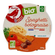 AUCHAN BABY BIO Assiette spaghetti bolognaise dès 12 mois 230g