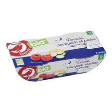 AUCHAN BABY BIO Bol de pâtes tomates courgettes bio dès 12 mois 2x200g