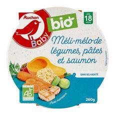 AUCHAN BABY BIO Assiette méli-mélo légumes pâtes et saumon dès 18 mois 260g