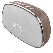 BLAUPUNKT Radio réveil Bluetooth vintage - Bois/Silver - BLP2610