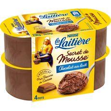 LA LAITIERE Secret de Mousse au chocolat au lait 4x59g
