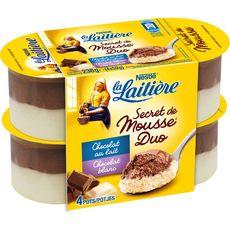 LA LAITIERE Secret de mousse duo aux chocolats au lait et blanc 4x59g