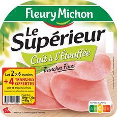 FLEURY MICHON Fleury Michon jambon supérieur tranches fines lot 2x6 + 4 offertes 480g 480g 16 tranches