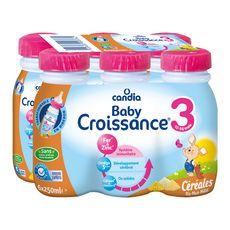 Candia Baby 3 lait de croissance liquide céréales de 10 mois à 3 ans 6x25cl