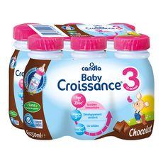Candia Baby 3 lait de croissance liquide chocolat de 10 mois à 3ans 6x250ml