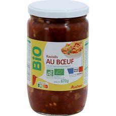 Auchan raviolis au bœuf bio bocal 670g