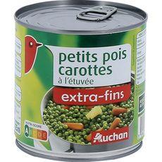 AUCHAN Petits pois carottes à l'étuvée extra-fins 265g