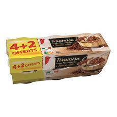 AUCHAN Tiramisu saveur mascarpone et café 4+2 offerts 480g