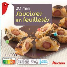 AUCHAN Mini-saucisses en feuilletés 20 pièces 350g
